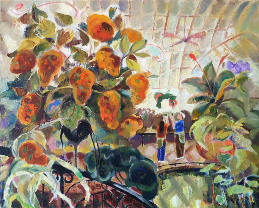 Original art for sale at UGallery.com | Greenhouse 2 by DINA VOLKOVA | $1,175 |  | 24' h x 30' w | ..\art\oil-painting-Greenhouse-2
