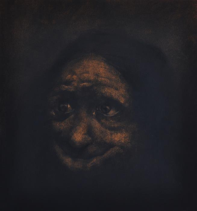 Original art for sale at UGallery.com | Grotesque Old Woman by DREW MCSHERRY | $725 |  | 18' h x 17' w | ..\art\charcoal-drawing-Grotesque-Old-Woman