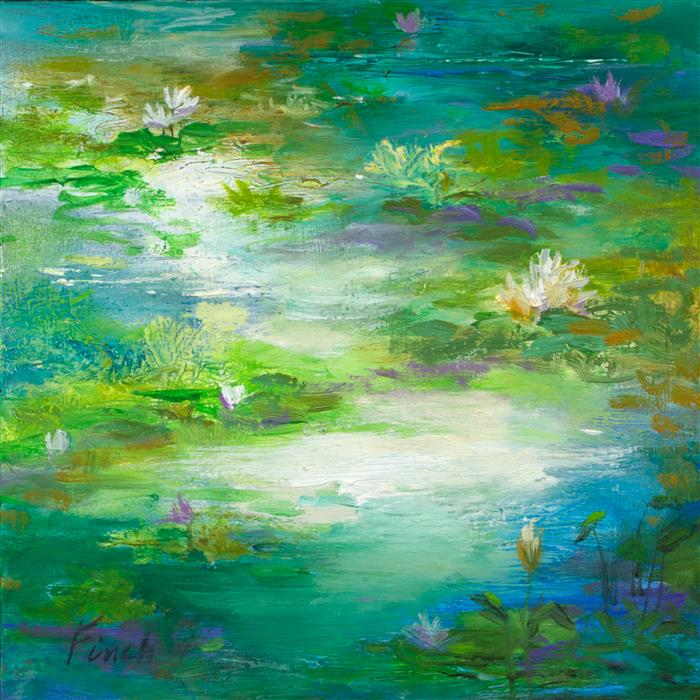 Original art for sale at UGallery.com | Waterlily Pond II by SHEILA FINCH | $325 | Oil painting | 5' h x 5' w | ..\art\oil-painting-Waterlily-Pond-II