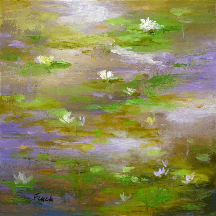 Original art for sale at UGallery.com | Waterlily Pond III by SHEILA FINCH | $325 | Oil painting | 5' h x 5' w | ..\art\oil-painting-Waterlily-Pond-III