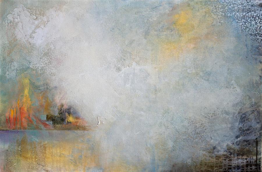 Original art for sale at UGallery.com | Hazy Light by Karen Hale | $1,400 | acrylic painting | 24' h x 36' w | ..\art\acrylic-painting-Hazy-Light