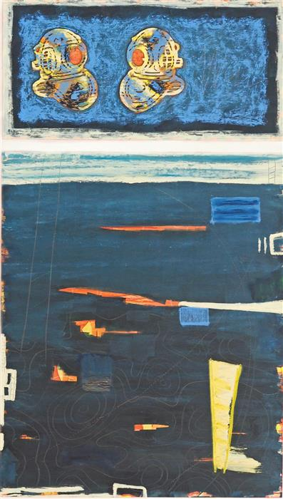 Original art for sale at UGallery.com | Let's Talk Topside by LESLIE MORGAN | $1,500 |  | 48' h x 28' w | ..\art\mixed-media-artwork-Let-s-Talk-Topside