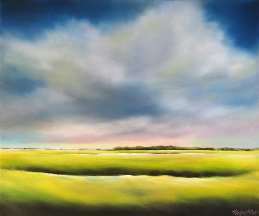 Original art for sale at UGallery.com | Gathering Marsh Clouds by NANCY HUGHES MILLER | $950 |  | 20' h x 24' w | ..\art\oil-painting-Gathering-Marsh-Clouds