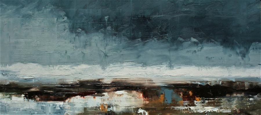 Original art for sale at UGallery.com | Some Bad Weather by RONDA WAIKSNIS | $750 |  | 17' h x 36' w | ..\art\oil-painting-Some-Bad-Weather