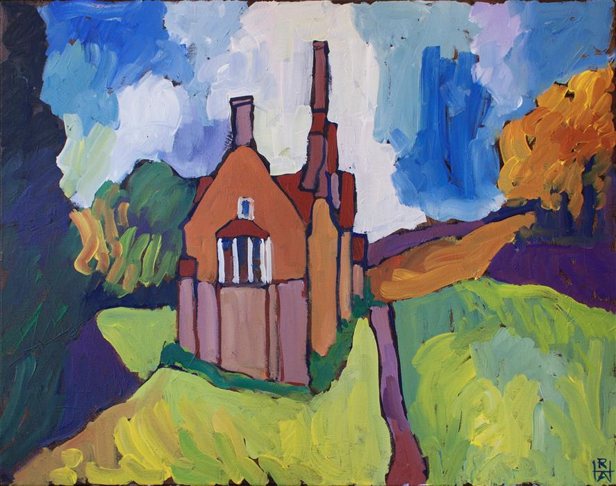 Original art for sale at UGallery.com | Big House Near Carlow by ROBERT HOFHERR | $875 |  | 22' h x 28' w | ..\art\acrylic-painting-Big-House-Near-Carlow