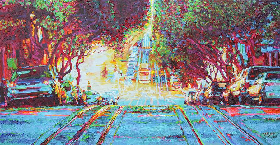 Original art for sale at UGallery.com | Ficus Trees over Hyde Street, San Francisco by SETH COUTURE | $2,800 |  | 28' h x 54' w | ..\art\acrylic-painting-Ficus-Trees-over-Hyde-Street-San-Francisco