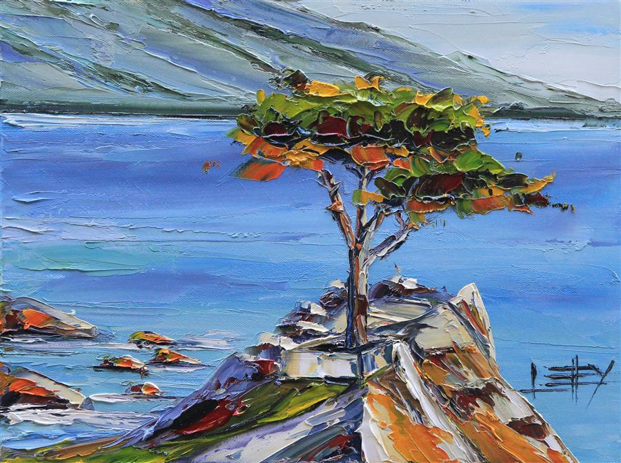 Original art for sale at UGallery.com | The Lone Cypress by LISA ELLEY | $525 |  | 12' h x 16' w | ..\art\oil-painting-The-Lone-Cypress