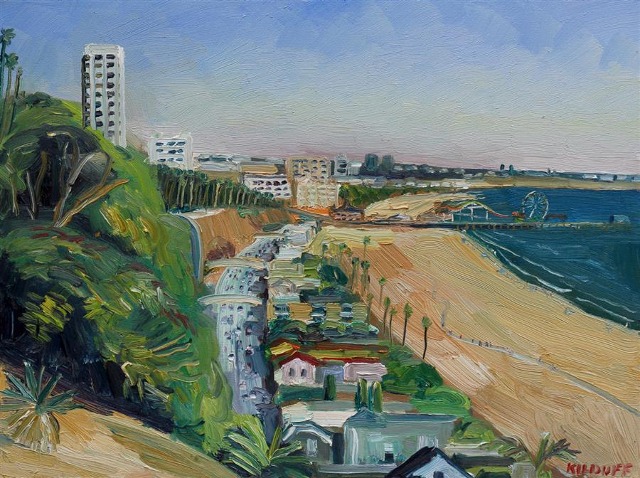 Original art for sale at UGallery.com | Palisades Park, Santa Monica by JOHN KILDUFF | $1,325 |  | 18' h x 24' w | ..\art\oil-painting-Palisades-Park-Santa-Monica