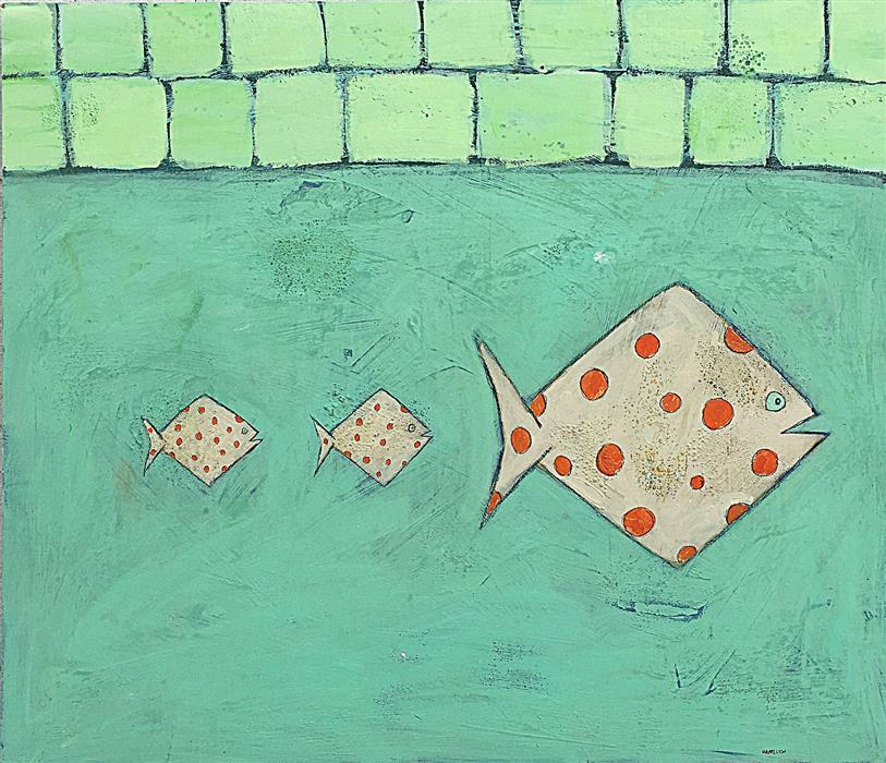 Original art for sale at UGallery.com | Polka Dot Fish by RICK HAMILTON | $1,000 | Acrylic painting | 24' h x 28' w | ..\art\acrylic-painting-Polka-Dot-Fish