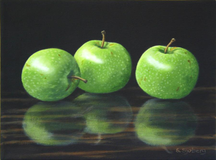 Original art for sale at UGallery.com | Green Apples by SUSAN SJOBERG | $575 |  | 9' h x 12' w | ..\art\acrylic-painting-Green-Apples