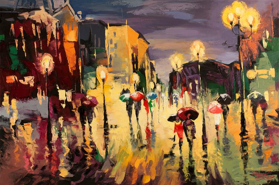 Original art for sale at UGallery.com | Promenade in Paris by STANISLAV SIDOROV | $1,900 |  | 24' h x 36' w | ..\art\oil-painting-Promenade-in-Paris