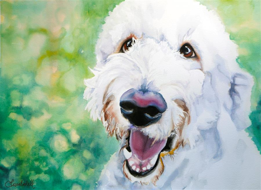 Original art for sale at UGallery.com | Ernie by JESSICA LINDELL | $775 |  | 22.25' h x 30' w | ..\art\watercolor-painting-Ernie