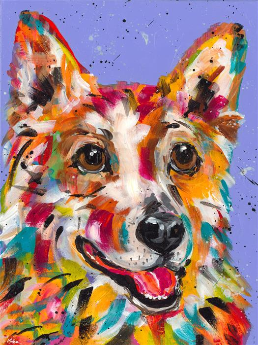 Original art for sale at UGallery.com | Corgi Smile by TRACY MILLER | $325 |  | 14' h x 11' w | ..\art\acrylic-painting-Corgi-Smile