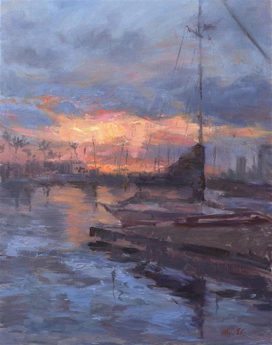 Original art for sale at UGallery.com | Sunset in a Marina by OKSANA JOHNSON | $1,775 |  | 28' h x 22' w | ..\art\oil-painting-Sunset-in-a-Marina