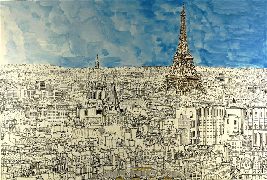 Original art for sale at UGallery.com | Paris Roof View by ORLANDO MARIN-LOPEZ | $950 | Drawing artwork | 10' h x 14.8' w | ..\art\drawing-artwork-Paris-Roof-View