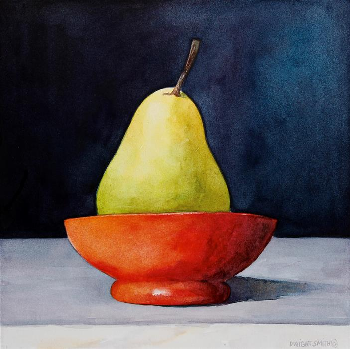 Original art for sale at UGallery.com | Green Pear with Red Bowl by DWIGHT SMITH | $225 | Watercolor painting | 8' h x 8' w | ..\art\watercolor-painting-Green-Pear-with-Red-Bowl