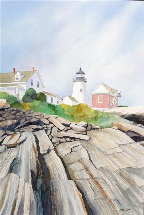 Original art for sale at UGallery.com | Pemaquid Light II - Between the Rock and the Sky by Bill Kreitlow | $750 | watercolor painting | 24.25' h x 16.25' w | ..\art\watercolor-painting-Pemaquid-Light-II-Between-the-Rock-and-the-Sky