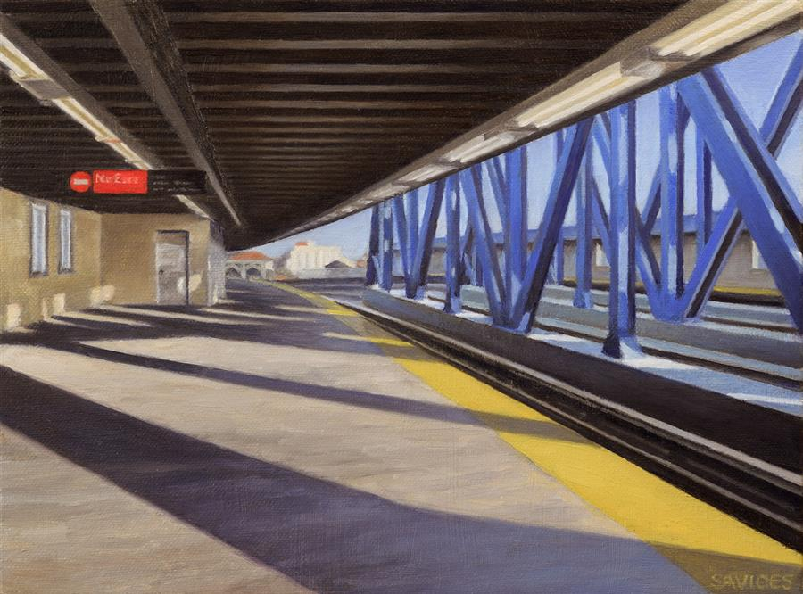 Original art for sale at UGallery.com | Smith-9th Streets Platform by NICK SAVIDES | $875 |  | 9' h x 12' w | ..\art\oil-painting-Smith-9th-Streets-Platform