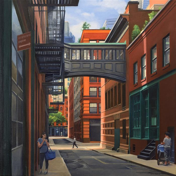 Original art for sale at UGallery.com | Staple Street – Looking South by Nick Savides | $2,850 | oil painting | 24' h x 24' w | ..\art\oil-painting-Staple-Street-Looking-South