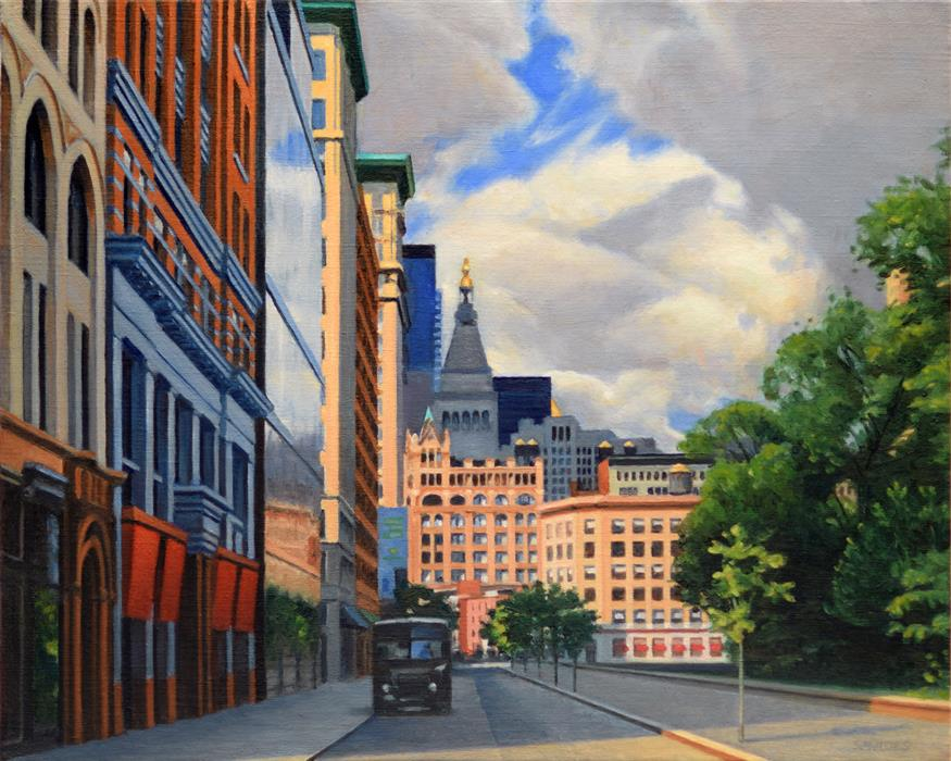 Original art for sale at UGallery.com | Union Square West by NICK SAVIDES | $2,125 |  | 16' h x 20' w | ..\art\oil-painting-Union-Square-West