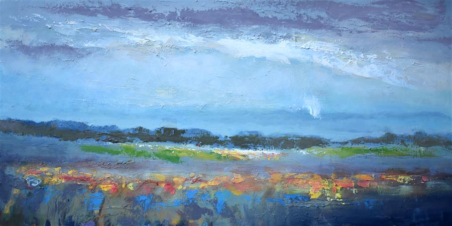 Original art for sale at UGallery.com | Soft Rain by KIP DECKER | $3,125 |  | 24' h x 48' w | ..\art\acrylic-painting-Soft-Rain