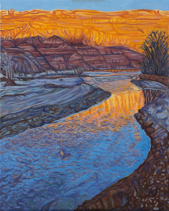 Original art for sale at UGallery.com | The Sun Sets on the Paria by CRYSTAL DIPIETRO | $2,175 |  | 30' h x 24' w | ..\art\oil-painting-The-Sun-Sets-on-the-Paria