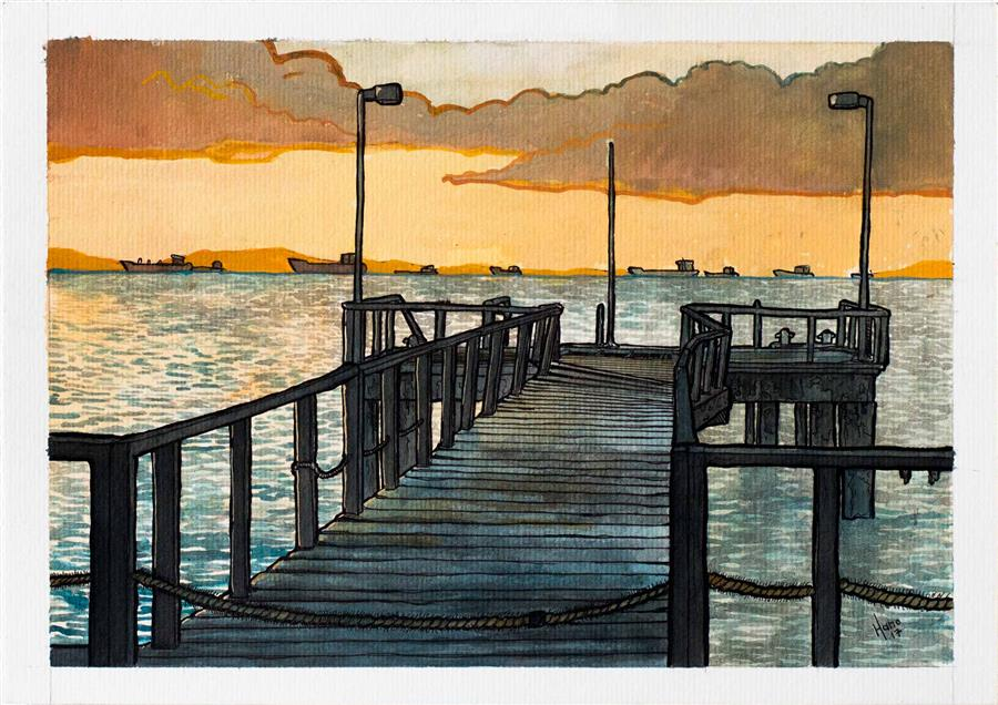 Original art for sale at UGallery.com | Old Jetty, Salvador by HANO DERCKSEN | $350 |  | 8.2' h x 11.6' w | ..\art\mixed-media-artwork-Old-Jetty-Salvador