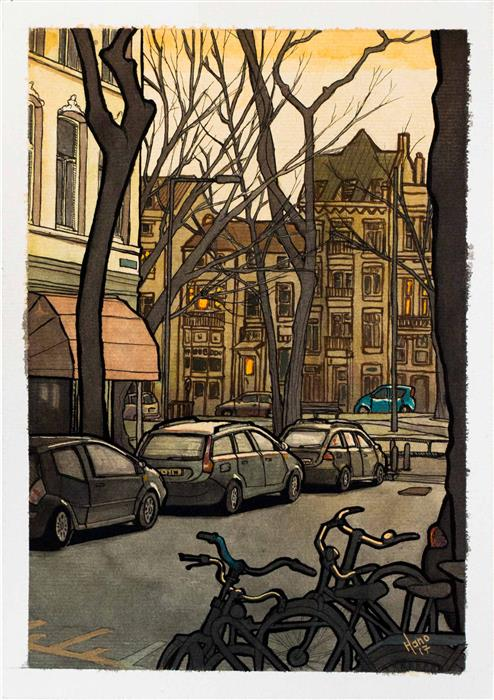 Original art for sale at UGallery.com | Street in Rotterdam by HANO DERCKSEN | $350 |  | 11.6' h x 8.2' w | ..\art\mixed-media-artwork-Street-in-Rotterdam