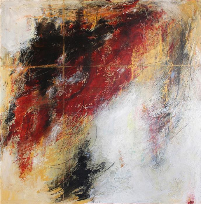 Original art for sale at UGallery.com | Red/Ochre Salsa by CHARLES KACIN | $1,950 | Mixed media artwork | 36' h x 36' w | ..\art\mixed-media-artwork-Red-Ochre-Salsa