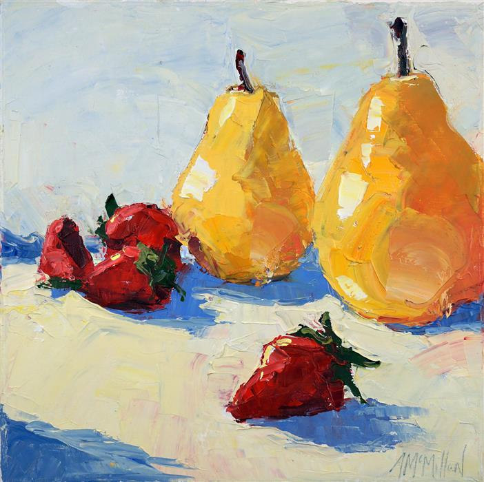 Original art for sale at UGallery.com | Pears and Strawberries by ANN  MCMILLAN | $600 | Oil painting | 12' h x 12' w | ..\art\oil-painting-Pears-and-Strawberries