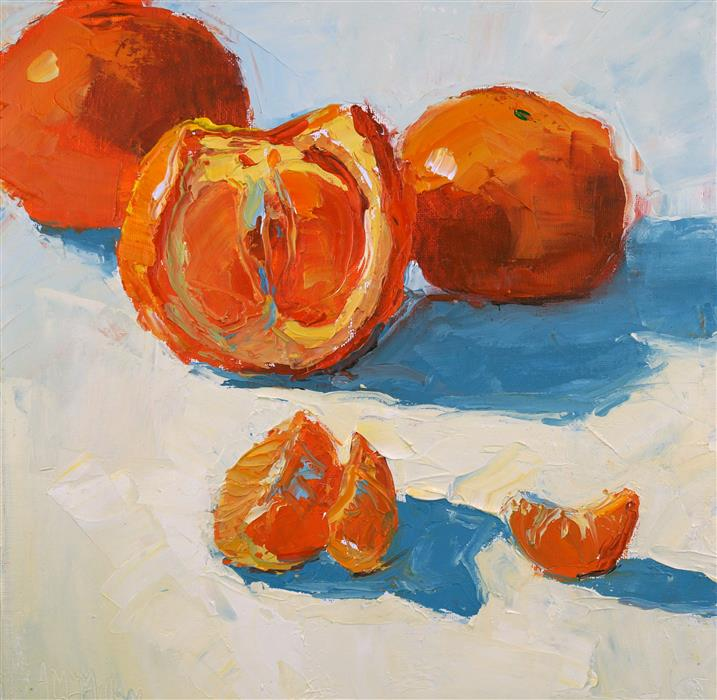 Original art for sale at UGallery.com | Tangerines by ANN  MCMILLAN | $600 | Oil painting | 12' h x 12' w | ..\art\oil-painting-Tangerines