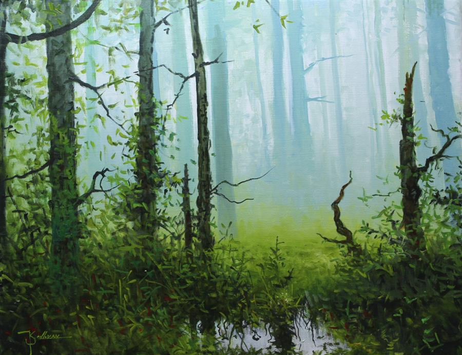Original art for sale at UGallery.com | Forest Mist by KENT SULLIVAN | $1,300 |  | 16' h x 20' w | ..\art\oil-painting-Forest-Mist