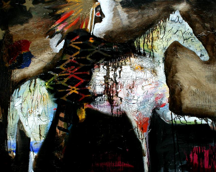 Original art for sale at UGallery.com | The Night Chief Rides by SCOTT DYKEMA | $6,500 |  | 48' h x 60' w | ..\art\mixed-media-artwork-The-Night-Chief-Rides