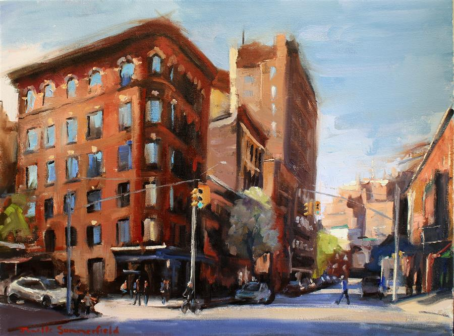 Original art for sale at UGallery.com | Sunny Day in Greenwich Village by JONELLE SUMMERFIELD | $600 |  | 18' h x 24' w | ..\art\oil-painting-Sunny-Day-in-Greenwich-Village