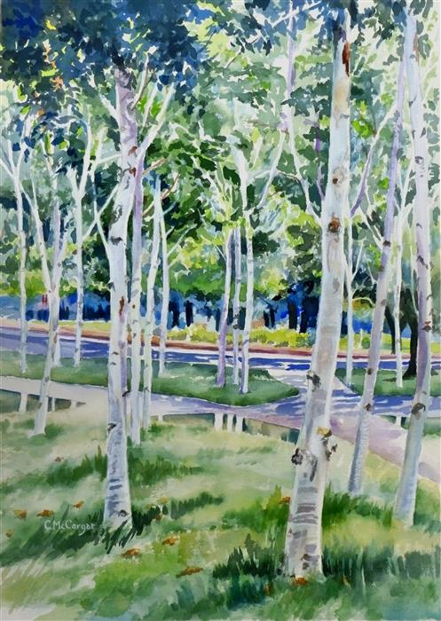Original art for sale at UGallery.com | Memorial Birches by CATHERINE MCCARGAR | $800 |  | 20.5' h x 15' w | ..\art\watercolor-painting-Memorial-Birches