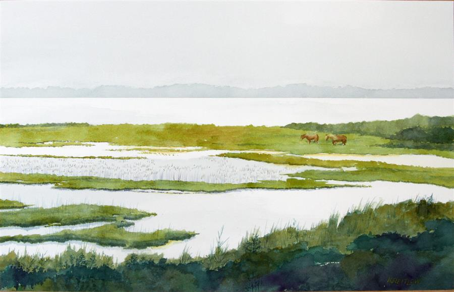 Original art for sale at UGallery.com | Where the Wild Ponies Roam by BILL KREITLOW | $750 |  | 15.25' h x 24.25' w | ..\art\watercolor-painting-Where-the-Wild-Ponies-Roam