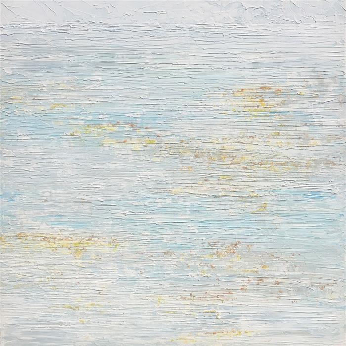 Original art for sale at UGallery.com | Lilies on the Water in the Rain by RUTH LAGUE | $2,700 |  | 30' h x 30' w | ..\art\acrylic-painting-Lilies-on-the-Water-in-the-Rain
