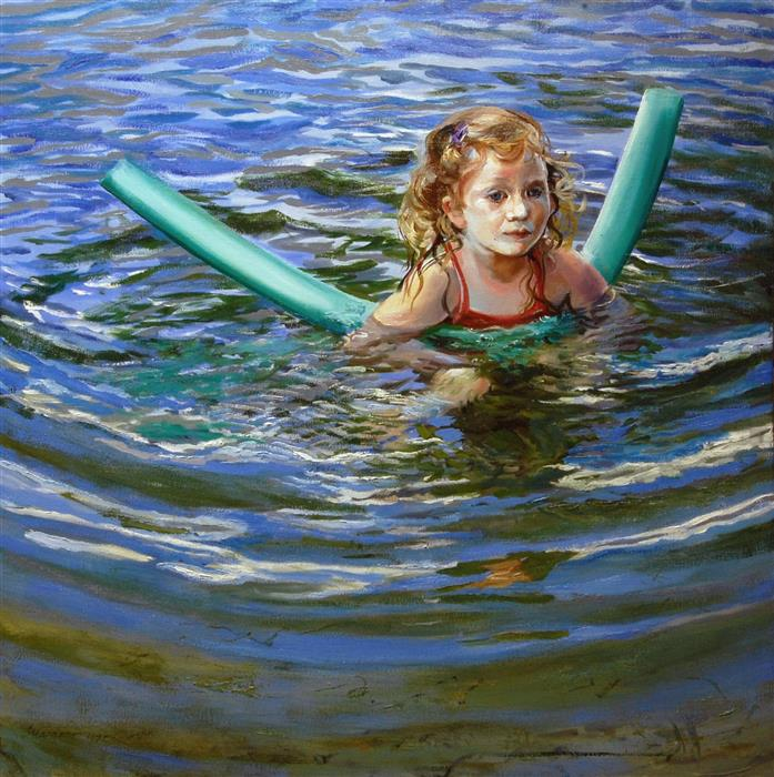Original art for sale at UGallery.com | Safety in the Shallows by ONELIO MARRERO | $1,075 |  | 24' h x 24' w | ..\art\oil-painting-Safety-In-The-Shallows