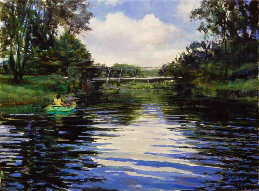 Original art for sale at UGallery.com | Just Before The Weir by ONELIO MARRERO | $700 |  | 12' h x 16' w | ..\art\oil-painting-Just-Before-The-Weir