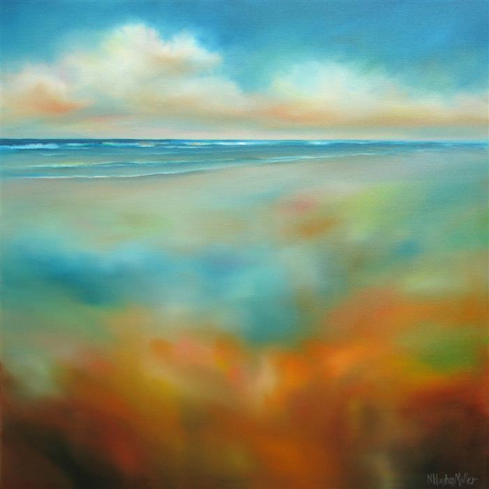 Original art for sale at UGallery.com | Sand and Sea by NANCY HUGHES MILLER | $1,000 |  | 24' h x 24' w | ..\art\oil-painting-Sand-and-Sea
