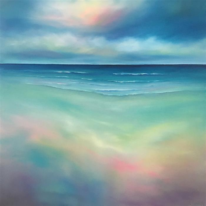 Original art for sale at UGallery.com | Beach Colors by NANCY HUGHES MILLER | $1,150 |  | 30' h x 30' w | ..\art\oil-painting-Beach-Colors