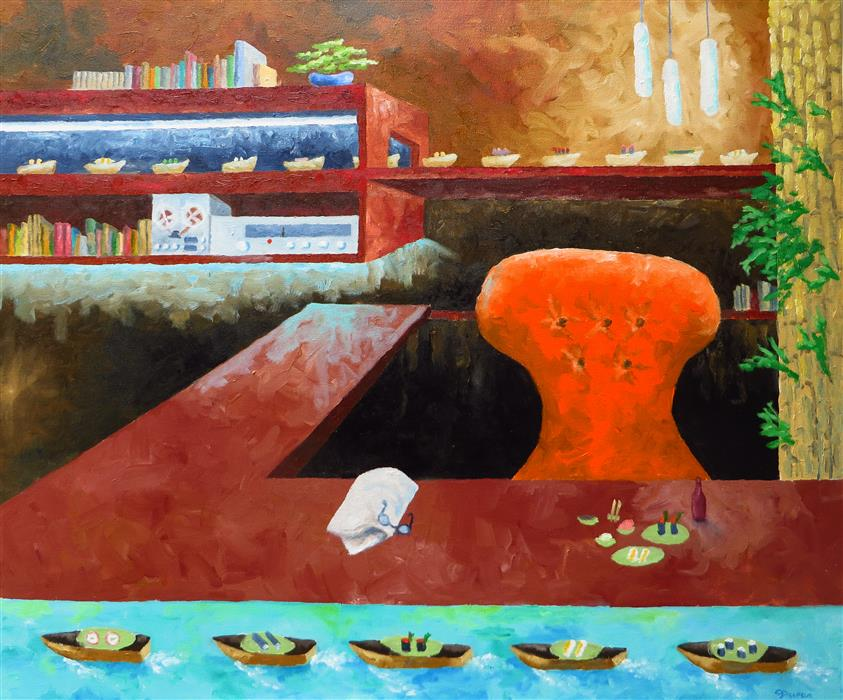 Original art for sale at UGallery.com | Home Office Sushi by MITCHELL FREIFELD | $475 |  | 25' h x 30' w | ..\art\oil-painting-Home-Office-Sushi