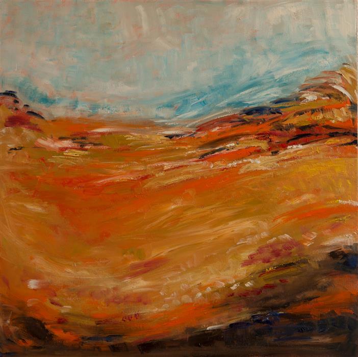 Original art for sale at UGallery.com | Orange Fields by Kajal Zaveri | $2,075 | oil painting | 30' h x 30' w | ..\art\oil-painting-Orange-Fields