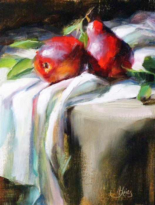 Original art for sale at UGallery.com | Red Pears by PAMELA BLAIES | $625 |  | 12' h x 9' w | ..\art\oil-painting-Red-Pears