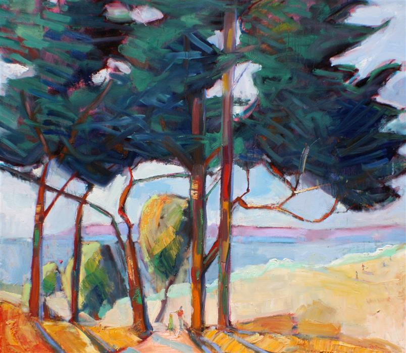 Original art for sale at UGallery.com | Seaside Trees by JAMES HARTMAN | $6,175 |  | 48' h x 60' w | ..\art\oil-painting-Seaside-Trees