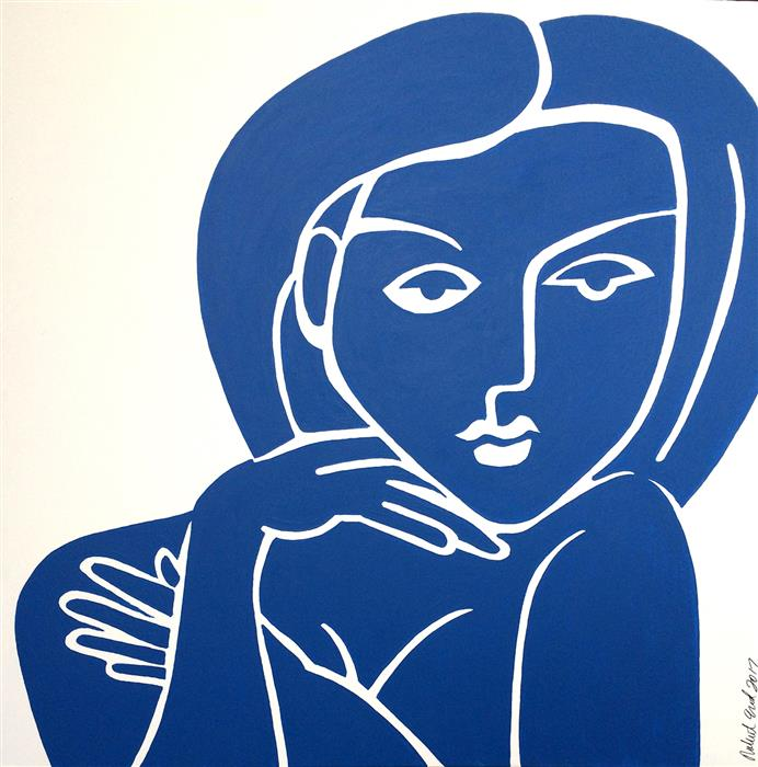 Original art for sale at UGallery.com | Mondrian Blue Nude by ROBERT EROD | $2,150 |  | 36' h x 36' w | ..\art\acrylic-painting-Mondrian-Blue-Nude