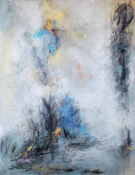 Original art for sale at UGallery.com | Shifting Blue Daybreak by CHARLES KACIN | $1,475 |  | 30' h x 24' w | ..\art\mixed-media-artwork-Shifting-Blue-Daybreak