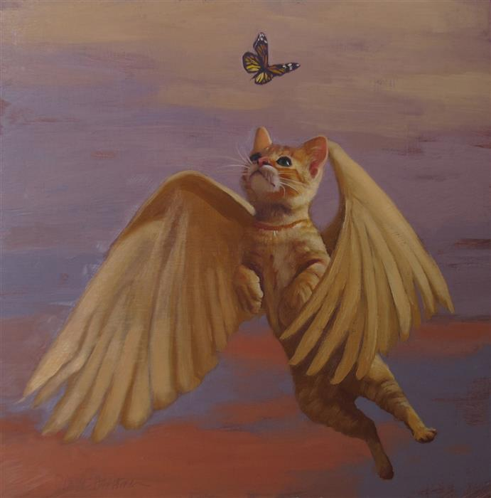 Original art for sale at UGallery.com | Flying Cat by DIANE HOEPTNER | $600 |  | 10' h x 10' w | ..\art\oil-painting-Flying-Cat