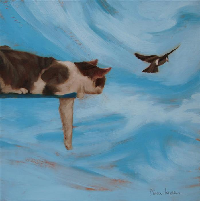 Original art for sale at UGallery.com | Sky Cat by DIANE HOEPTNER | $425 | Oil painting | 8' h x 8' w | ..\art\oil-painting-Sky-Cat
