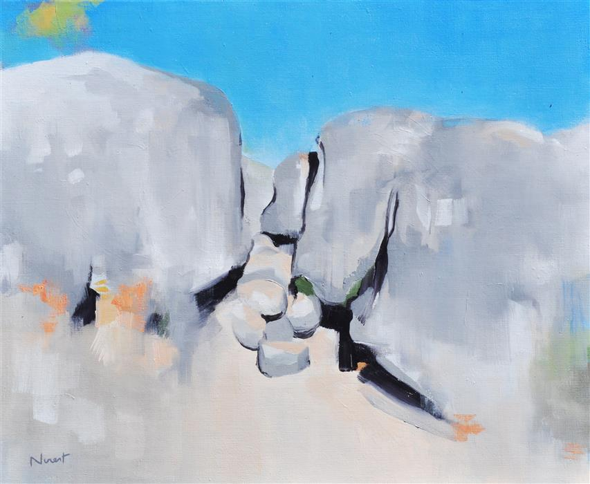 Original art for sale at UGallery.com | Between the Rocks by CLÉMENT NIVERT | $1,150 |  | 18' h x 22' w | ..\art\oil-painting-Between-the-Rocks